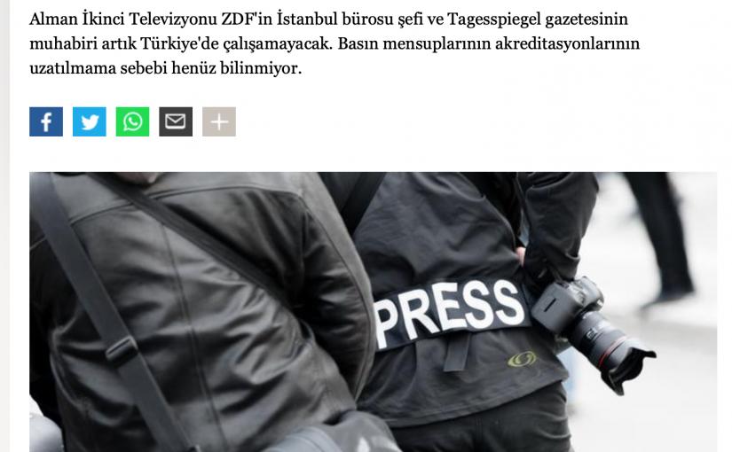 Türk hükümeti Alman gazetecilere basın kartı vermeyi reddetti